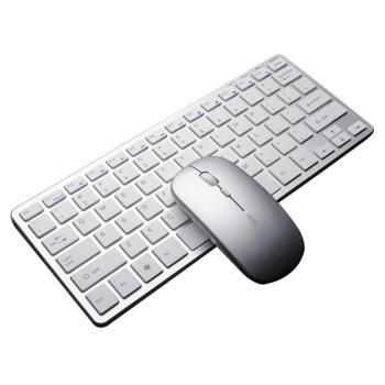 英菲克(INPHIC)V 780充電可ワイヤレースキーボックスマウスセットMACノートパソコン通用薄型キーボード携帯オフィスミュートマウスセットオーロラシルバー