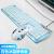狼途遊戯有線機械手触りキーボードマウスセット(超薄型無声静音キーボードボタンマウスセットノートパソコンデスクトップパソコン家庭用キーボード)白氷藍+機械蛇マウス白+N 1白LED付きイヤホン
